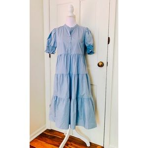 Who What Wear | Blue Tiered Puff Sleeve Dress